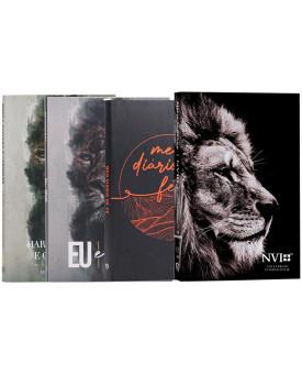 Kit Bíblia NVI Letra Hipergigante Leão Hebraico + Meu Diário de Fé + Harpa Avidada + Devocional | Fundamento da Fé