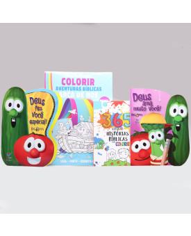 Kit Deus Fez Você Especial + 365 Histórias Para Colorir + Tapete Para Colorir + Deus Ama Muito Você   Os Vegetais
