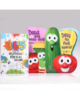 Kit Deus Fez Você Especial + 365 Histórias Bíblicas para Colorir + Deus Ama Muito Você   Os Vegetais