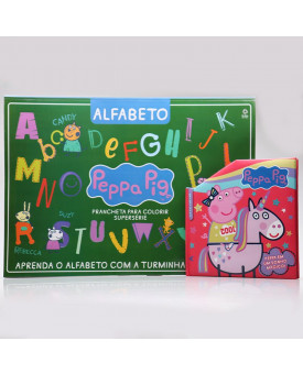 Kit Prancheta Para Colorir Alfabeto + Livro Pop-Up | Peppa Pig