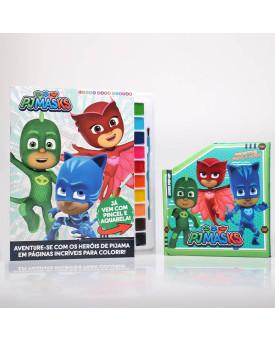 Kit Livro Para Pintar com Aquarela + Livro Pop-Up | Pj Masks