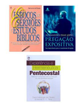 Kit 3 Livros | Pregadores: Esboços, Hermenêutica e Estudos Bíblicos