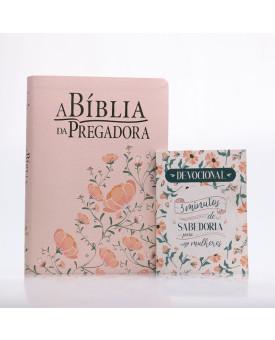 Kit A Bíblia da Pregadora RA Rosa/Verde + Grátis Devocional 3 Minutos de Sabedoria Para Mulheres   Pregadores de Fé