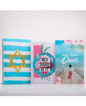 Kit Bíblia ACF Yeshua + Minha Jornada com Deus + Meu Diário de Fé | Menina dos Olhos