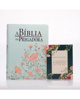 Kit A Bíblia da Pregadora RC Verde/Salmão + Grátis Devocional 3 Minutos de Sabedoria Para Mulheres   Pregadores de Fé