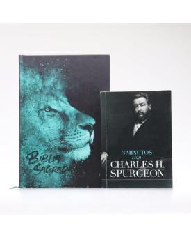 Kit Bíblia ACF Capa Dura Leão Azul + Devocional 3 Minutos com Charles H. Spurgeon | Vivendo com Propósito