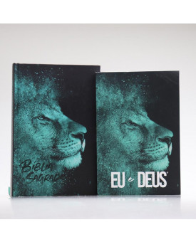 Kit Leão Azul | Bíblia + Eu e Deus | Orar e Vencer