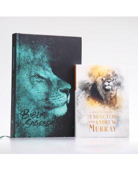 Kit Bíblia ACF Leão Azul + Devocional Andrew Murray | Crescendo na Graça