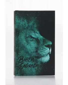 Bíblia Sagrada | RC | Harpa Avivada e Corinhos | Letra Normal | Capa Dura | Leão Azul | Slim