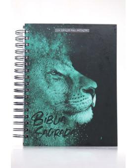 Bíblia Sagrada | NVI | Letra Normal | Capa Dura | Leão Azul | Espiral | Com Espaço Para Anotações