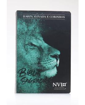Bíblia Sagrada | NVI | Harpa Avivada e Corinhos | Letra Hipergigante | Semi-Flexível | Leão Azul