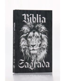 Bíblia Sagrada | RC | Harpa Avivada e Corinhos | Letra Normal | Capa Dura | Leão Preto e Branco | Slim