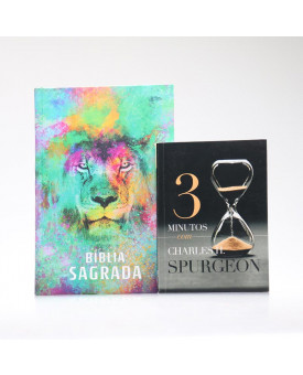 Kit Bíblia ACF Capa Dura Leão Color + Devocional 3 Minutos com Charles H. Spurgeon | Vivendo com Propósito