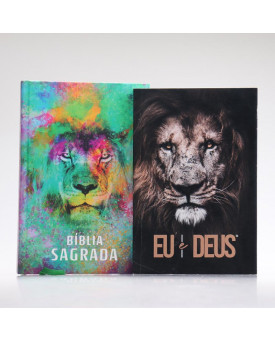 Kit Leão de Color | Bíblia + Eu e Deus Eu Sou | Orar e Vencer