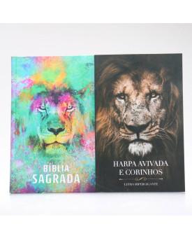 Kit Bíblia ACF Capa Dura Leão Color + Harpa Avivada e Corinhos Eu Sou | Louvando ao Senhor