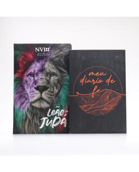 Kit Bíblia NVI Letra Hipergigante Leão Judá + Meu Diário de Fé | Fundamento da Fé