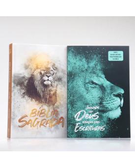 Kit Bíblia Minha Jornada com Deus NVI Leão Dourado + Guia Bíblico | Guia Meus Passos