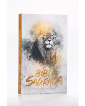 Bíblia Sagrada | RC | Harpa Avivada e Corinhos | Letra Normal | Capa Dura | Leão Dourado | Slim