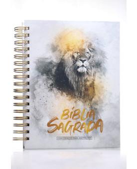 Bíblia Sagrada | NVI | Letra Normal | Capa Dura | Leão Dourado | Espiral | Com Espaço Para Anotações
