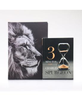 Kit Bíblia ACF Capa Dura Leão Hebraico + Devocional 3 Minutos com Charles H. Spurgeon | Vivendo com Propósito