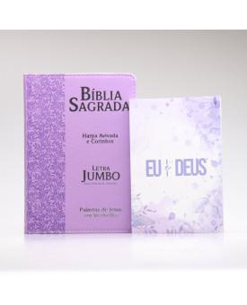 Kit Bíblia RC Harpa Letra Jumbo Lilás + Eu e Deus Lilás | Mulher de Fé