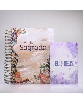 Kit Bíblia Anote Plus RC Flor Marmorizada + Devocional Eu e Deus Lilás | Mulher de Fé