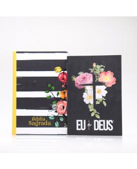 Kit Bíblia NVT Listrada + Devocional Eu e Deus Flores Cruz | Mulher de Fé