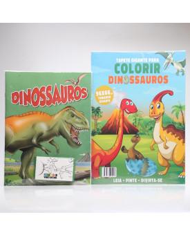 Kit Tapete Gigante + Livro Para Colorir | Dinossauros