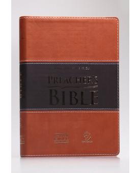 Preacher's Bible - Bíblia do Pregador | King James Version | Letra Normal | Capa PU | Marrom Claro e Escuro