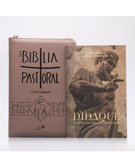 Kit Nova Bíblia Pastoral Letra Grande Marrom Zíper + Didaqué | Vivenciando a Fé