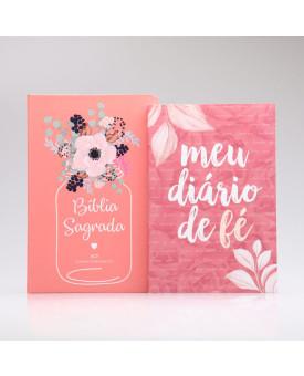 Kit Bíblia ACF Flor de Pote + Grátis Meu Diário de Fé | Mulher de Fé
