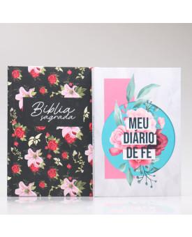 Kit Bíblia NAA Rosas + Meu Diário de Fé Colagem | Fé Restaurada