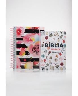Kit Planeje Sua Vida | Meu Plano Perfeito Flores Com Listras + Bíblia Sagrada | RC | Flowers Branca