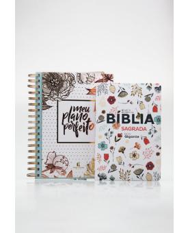 Kit Planeje Sua Vida | Meu Plano Perfeito Gold Flower + Bíblia Sagrada | RC | Flowers Branca