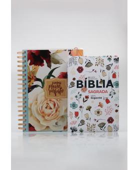 Kit Planeje Sua Vida | Meu Plano Perfeito Rosas + Bíblia Sagrada | RC | Flowers Branca