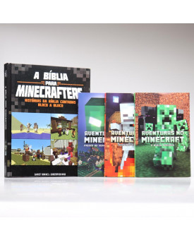 Kit 3 Livros Aventuras no Minecraft + A Bíblia Para Minecrafters