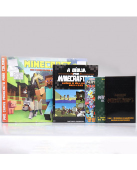Kit A Bíblia Para Minecrafters + Prancheta Para Colorir + 3 Almanaques Pró Games - Minecraft