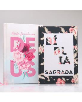 Kit Bíblia NAA Flor Hibisco + Minha Jornada com Deus | Fé Restaurada