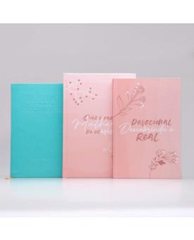 Kit Bíblia da Joyce Meyer Azul + Devocional Descobrindo o Real + Diário Para Mulheres de Oração | Capa Dura | Mulher de Fé