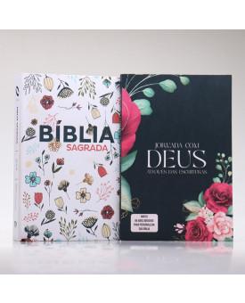 Kit Bíblia NAA Letra Grande Flowers Branca + Guia Bíblico   Crescendo Sábia