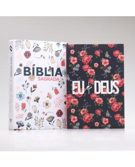 Kit Bíblia NAA Flowers Branca + Eu e Deus Rosas | Mulher Virtuosa