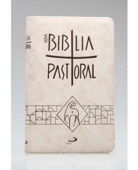 Nova Bíblia Pastoral | Letra Normal | Luxo | Tamanho Médio | Creme | Zíper