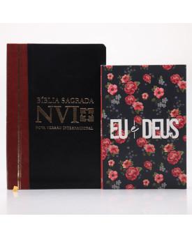 Kit Bíblia NVI Letra Grande Duotone Slim + Devocional Eu e Deus Rosas | Estudo Diário