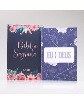 Kit Bíblia NVI Rosas + Devocional Eu e Deus Anoitecer | Mulher de Fé