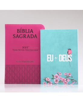 Kit Bíblia NVI Letra Hipergigante Pink + Eu e Deus Meu Amado | Mulher de Fé
