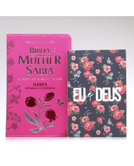 Kit Bíblia de Estudo da Mulher Sábia RC Harpa Letra Grande Pink + Eu e Deus Rosas | Cheias de Sabedoria