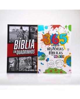 Kit Bíblia em Quadrinhos + 365 Histórias Bíblicas para Colorir   Aprendendo Sobre a Bíblia
