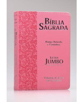 Bíblia Sagrada | RC | Harpa Avivada e Corinhos | Letra Jumbo | Luxo | Ramos Rosa