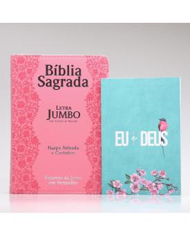 Kit Bíblia RC Harpa Letra Jumbo Flores Rosa + Eu e Deus Meu Amado | Mulher de Fé