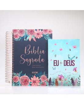 Kit Bíblia Anote NVI Rosas + Devocional Eu e Deus Jardim Secreto | Mulher de Fé